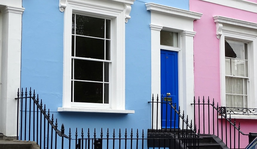 Notting Hill is a popular area to visit in West London, as famous for its pastel-coloured homes as its role in the film of the same name