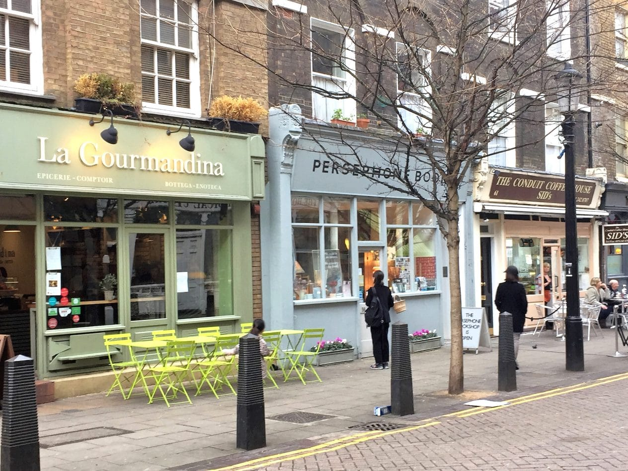 Independent shops, cafes and boutiques at Lamb's Conduit Street