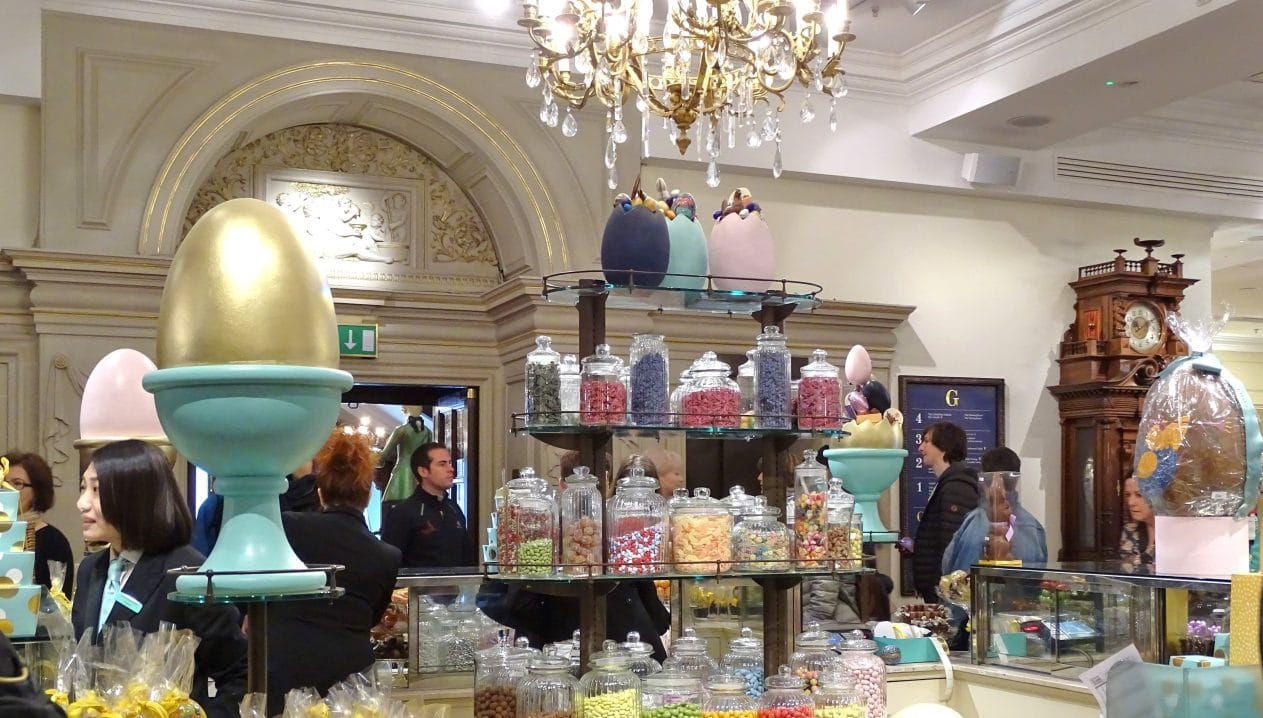 Easter shopping at London's luxury Fortnum & Masons in Piccadilly