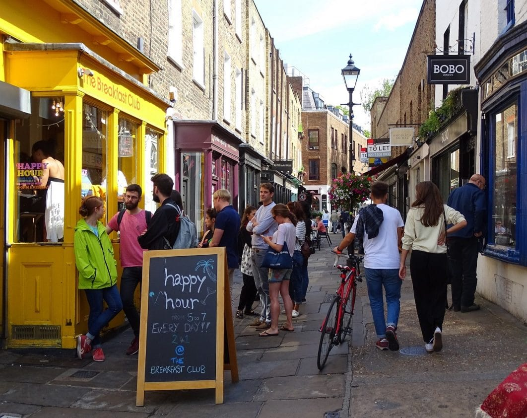 Explore the boutiques and cafes in Camden Passage, Islington