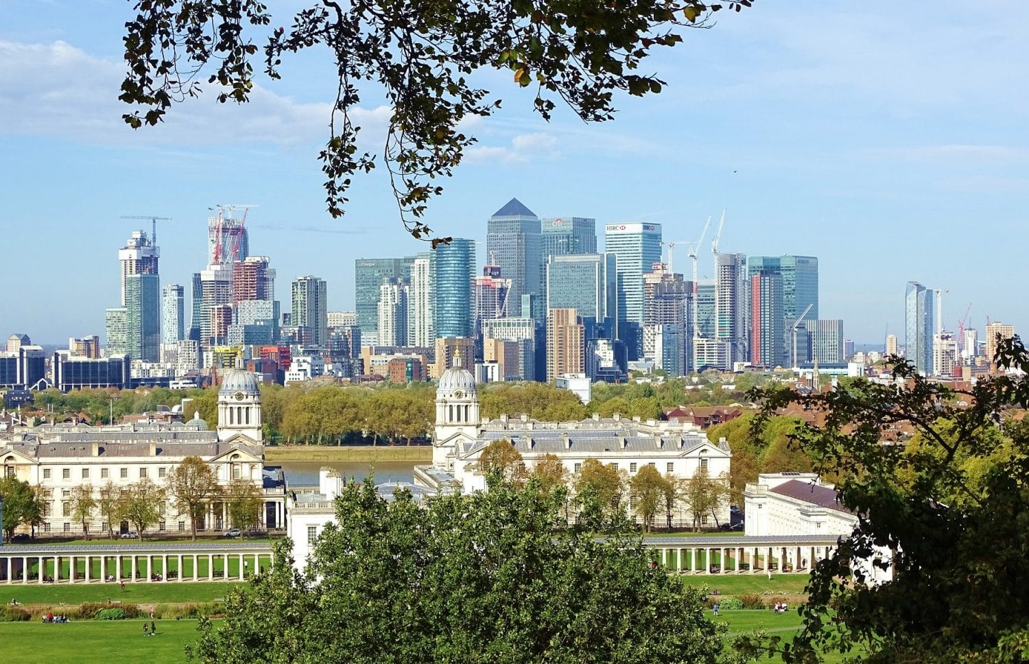 Canary Wharf views on a walking tour of Greenwich