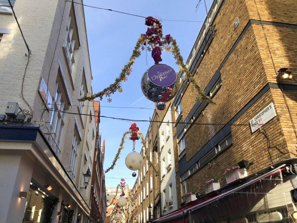 Gaze up at the Christmas decorations in St Christopher's Place and Marylebone High Street