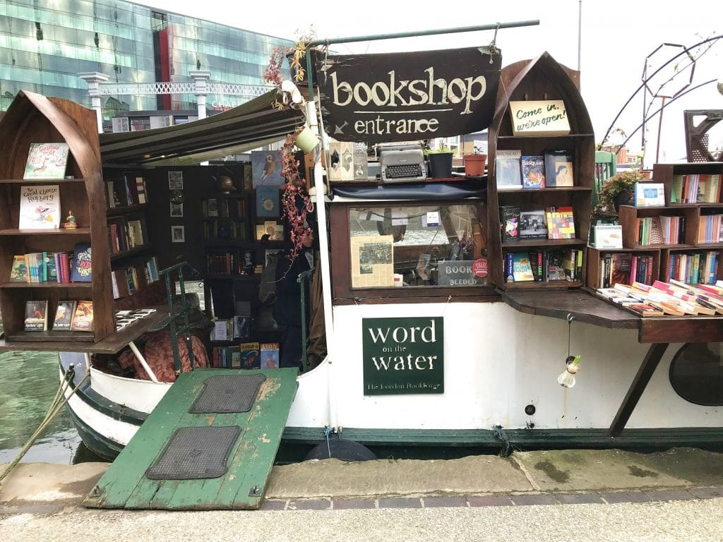 The Word on the Water bookshop is on the Kings Cross Canal, London