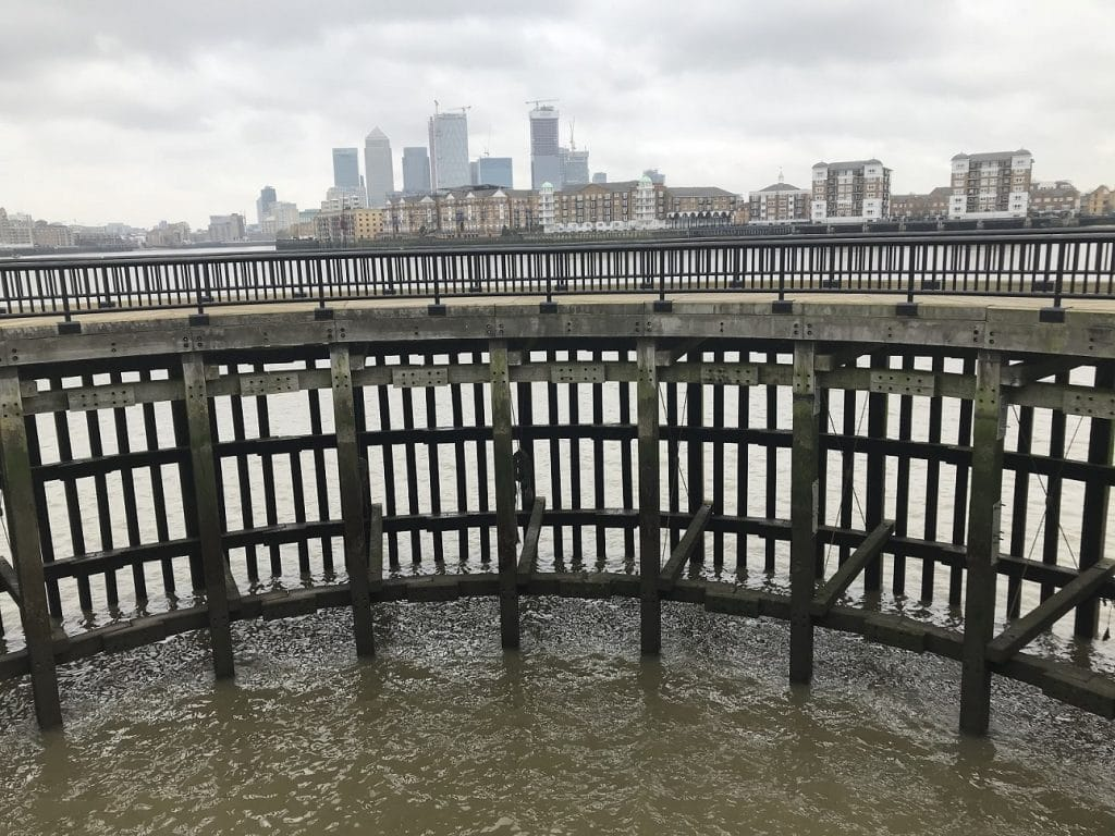 View across the Thames to Canary Wharf, London